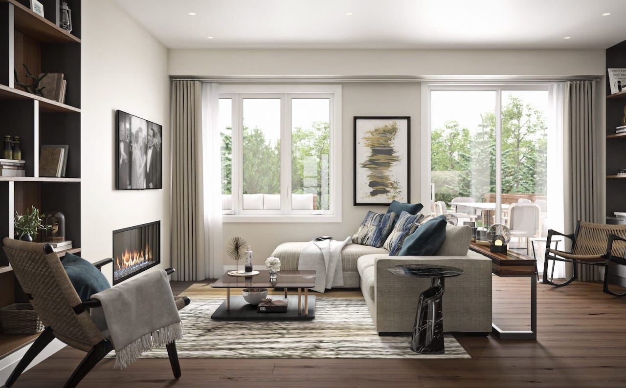 Rendering of West&Post towns interior living room