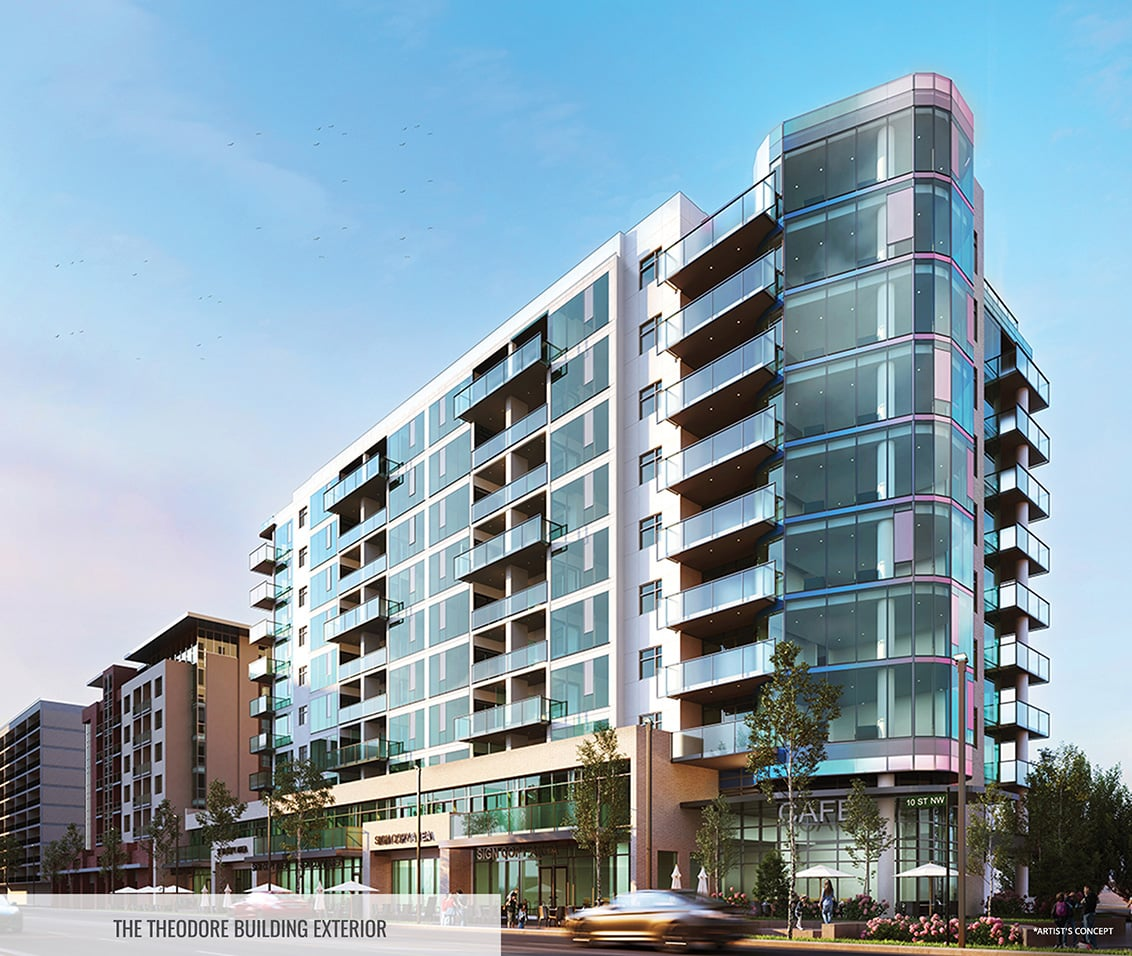 Rendering of The Theodore Condos building exterior