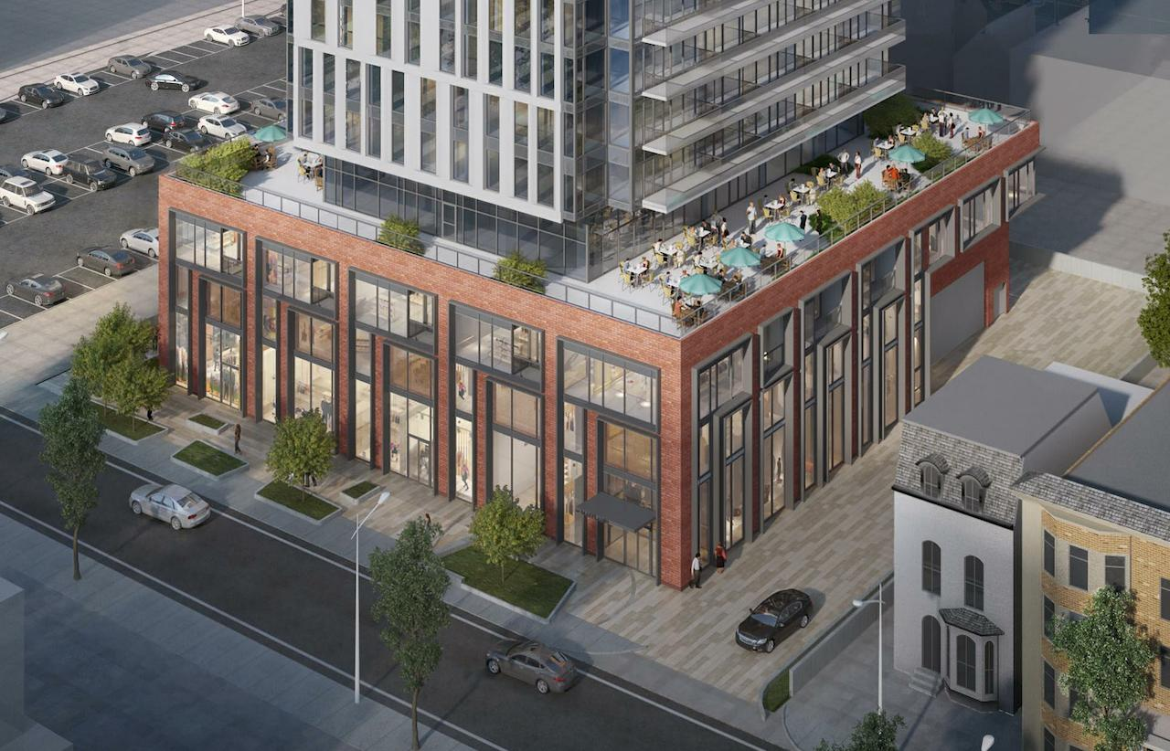 Rendering of 20 Maitland Condos aerial with view of rooftop terrace