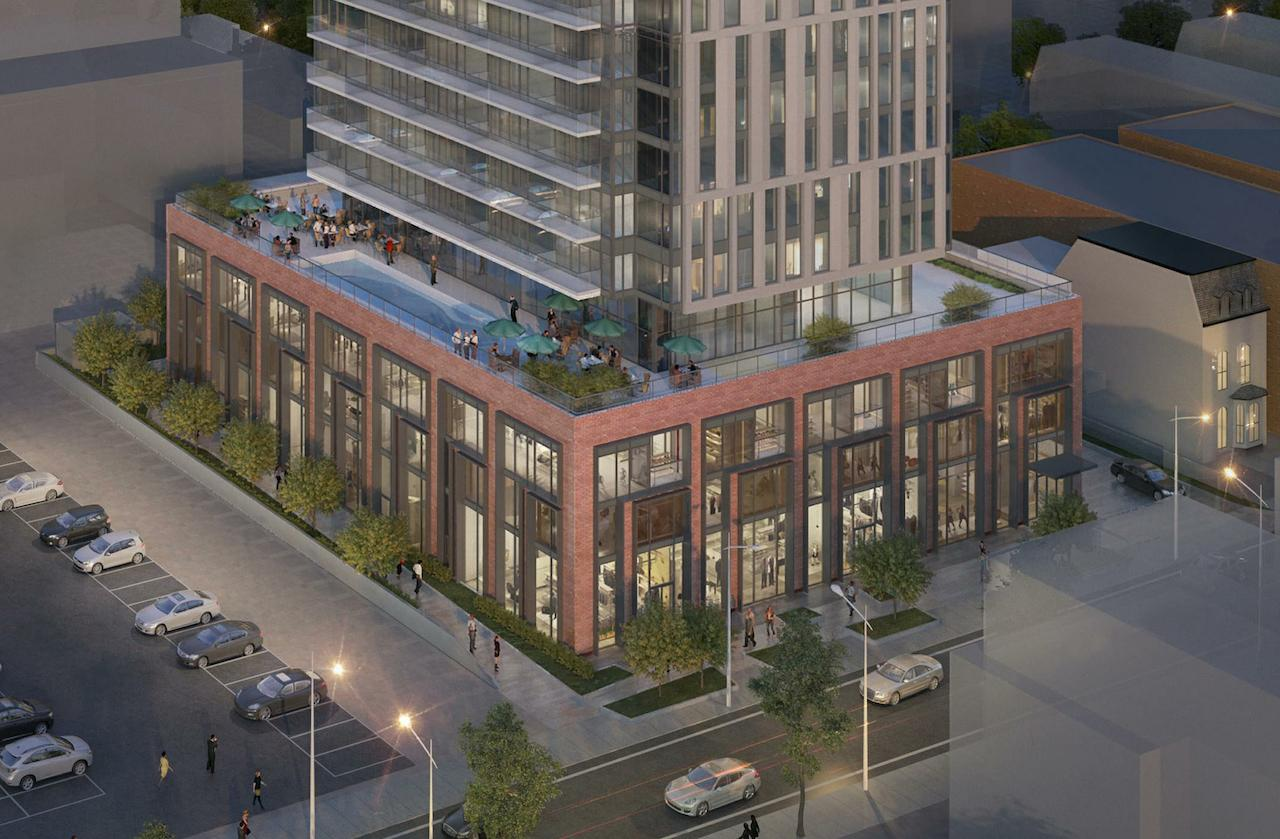 Rendering of 20 Maitland Condos aerial with view of rooftop pool