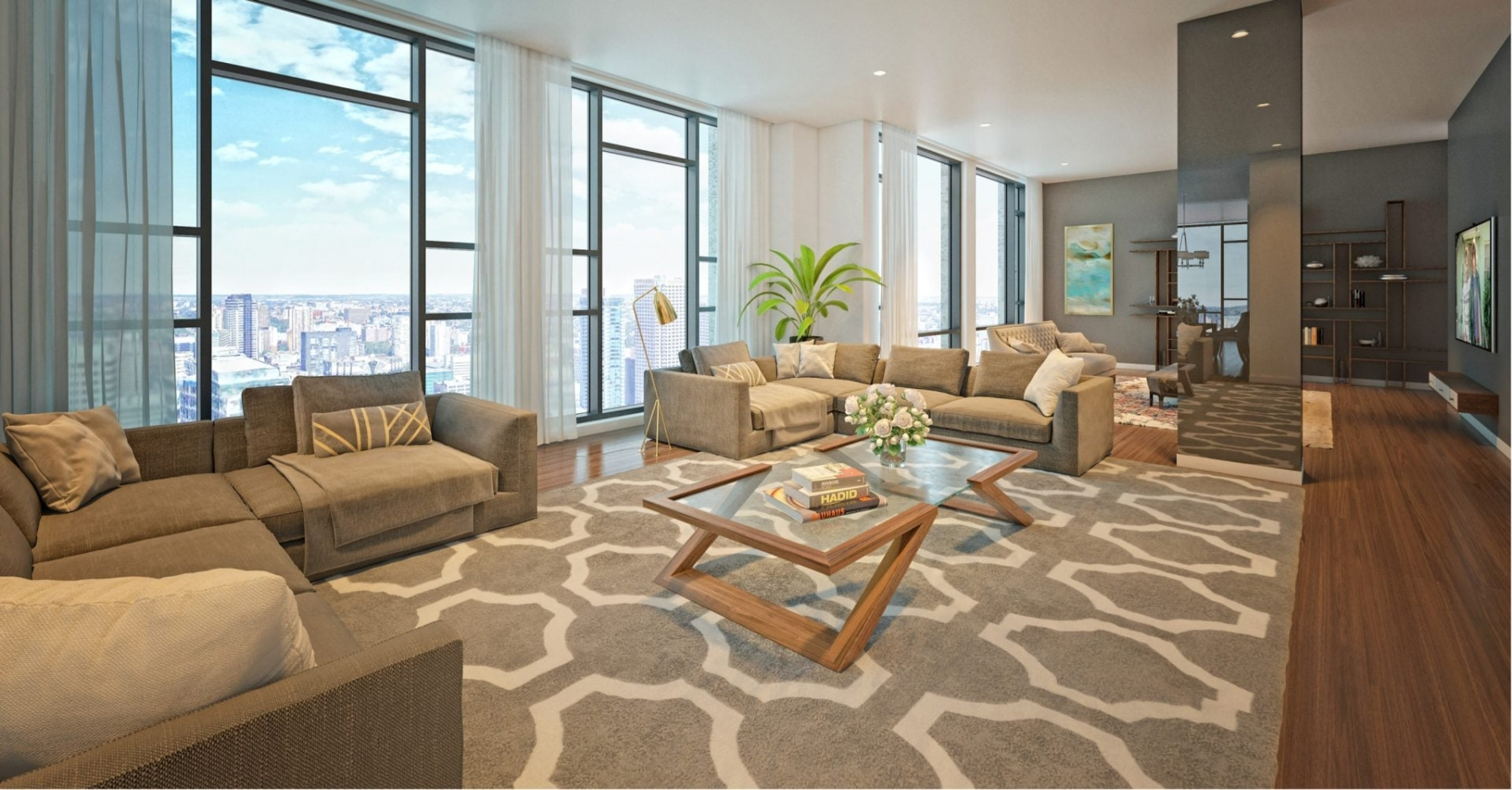 Rendering of 628 Saint-Jacques Condos interior living room