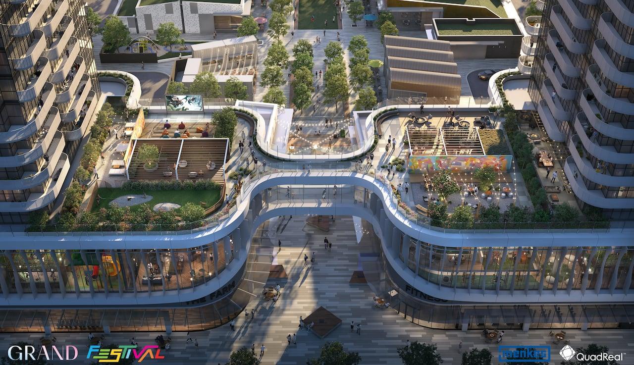 Grand Festival Condos aerial 5th floor amenity terrace
