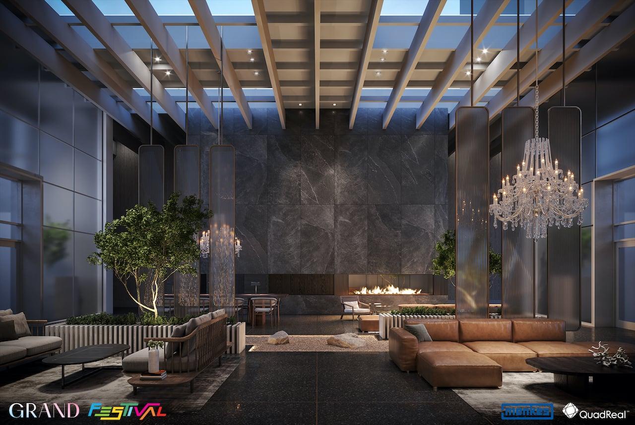 Grand Festival Condos Tower D interior lobby