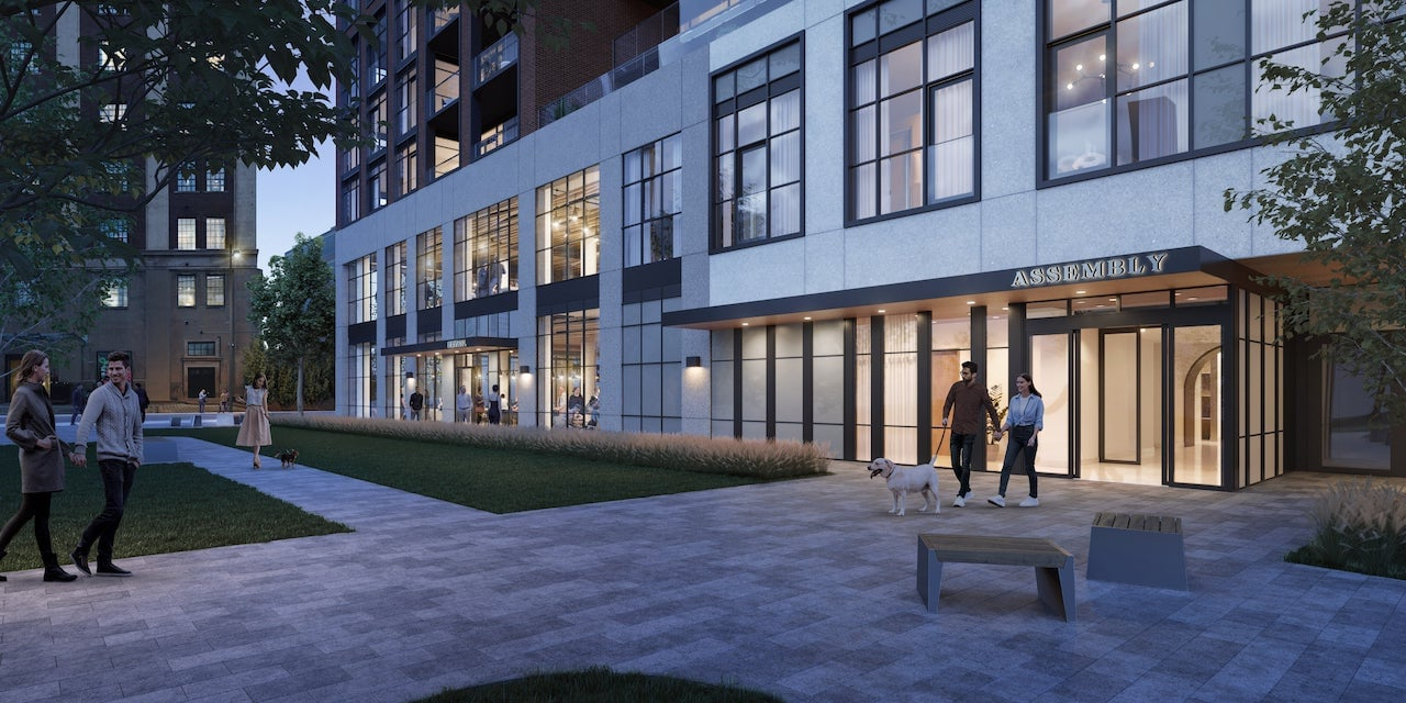 Rendering of House of Assembly Condos exterior entrance at night