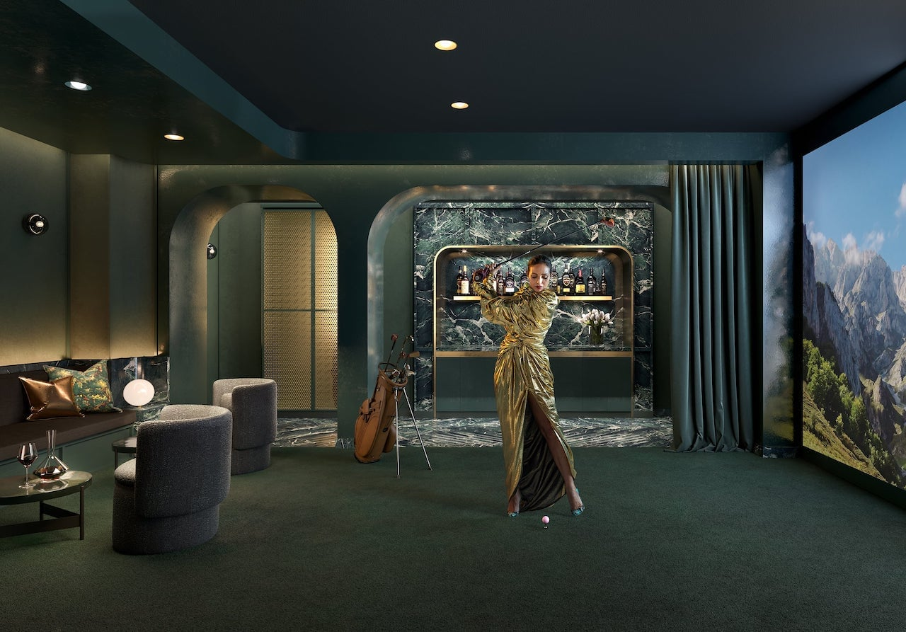 Rendering of The Capitol Condos golf simulator and parlour