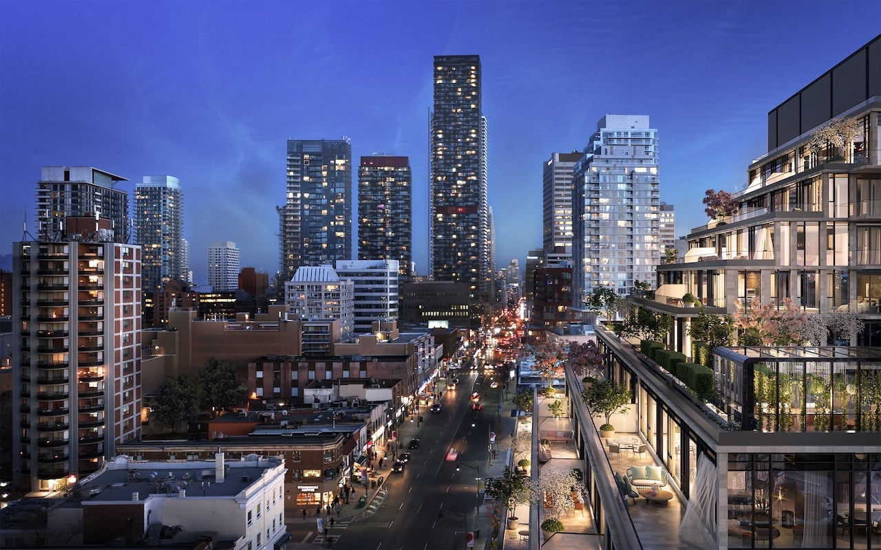 Rendering of The Capitol Condos exterior grand terraces at night