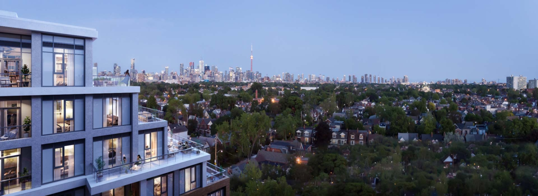 The Dupont Condos exterior terraces with view of Toronto