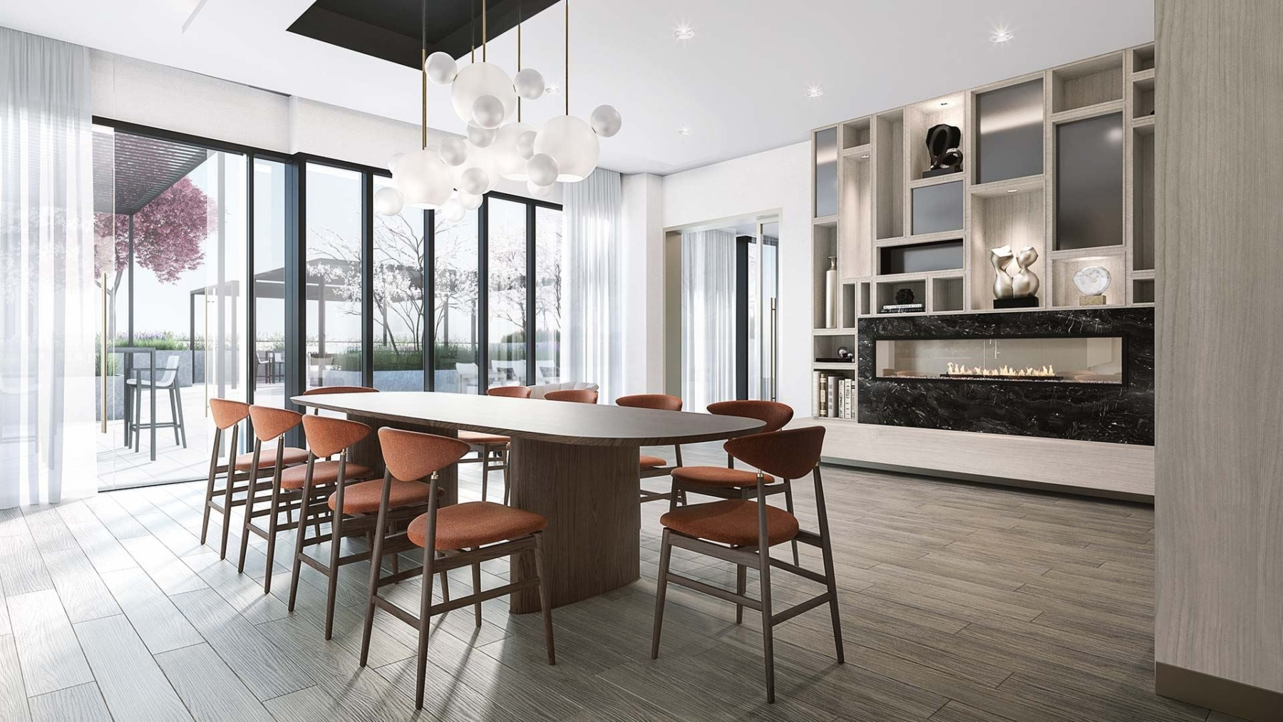 The Dupont Condos private dining with fireplace