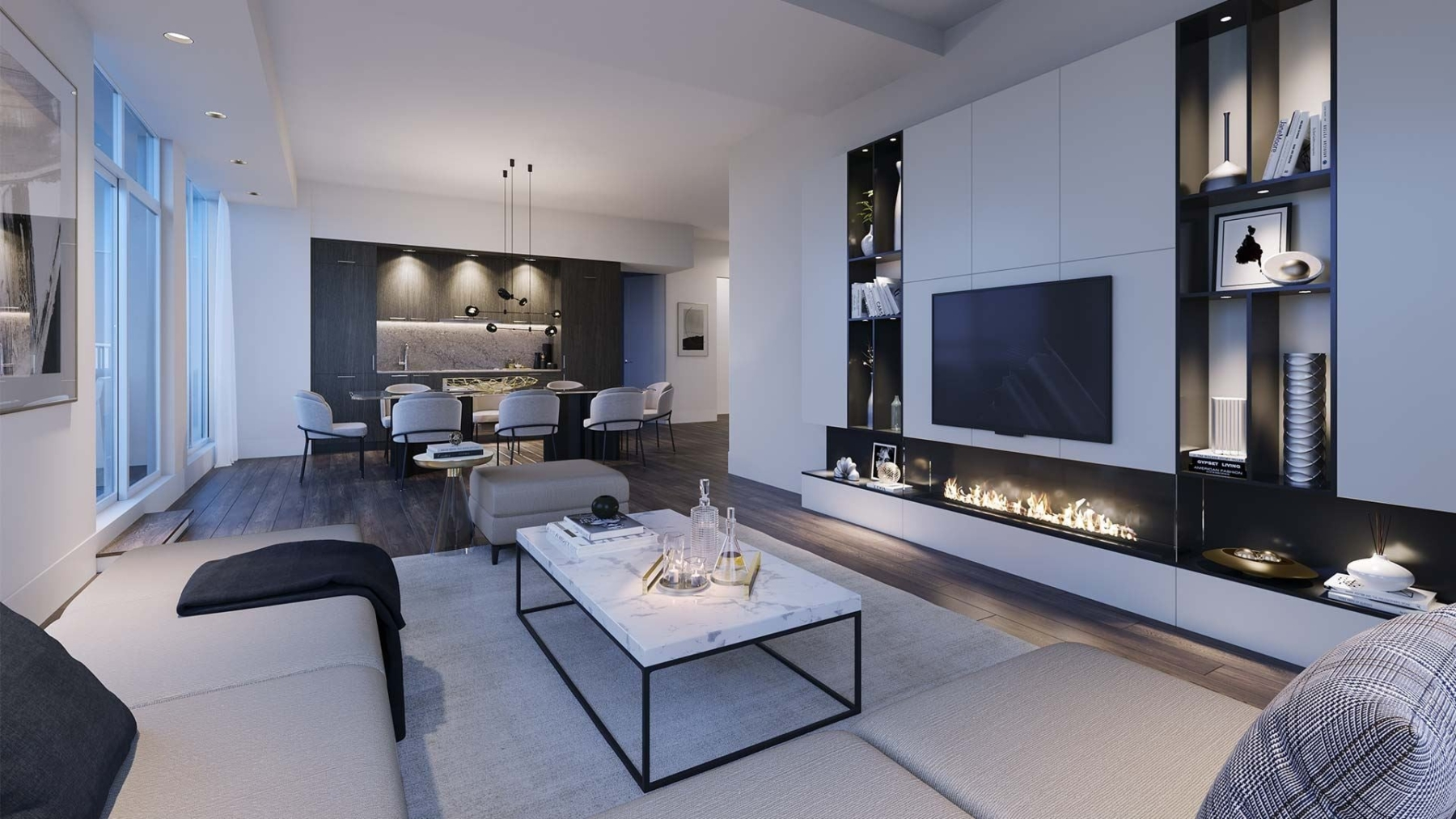 The Dupont Condos suite living room with fireplace at night
