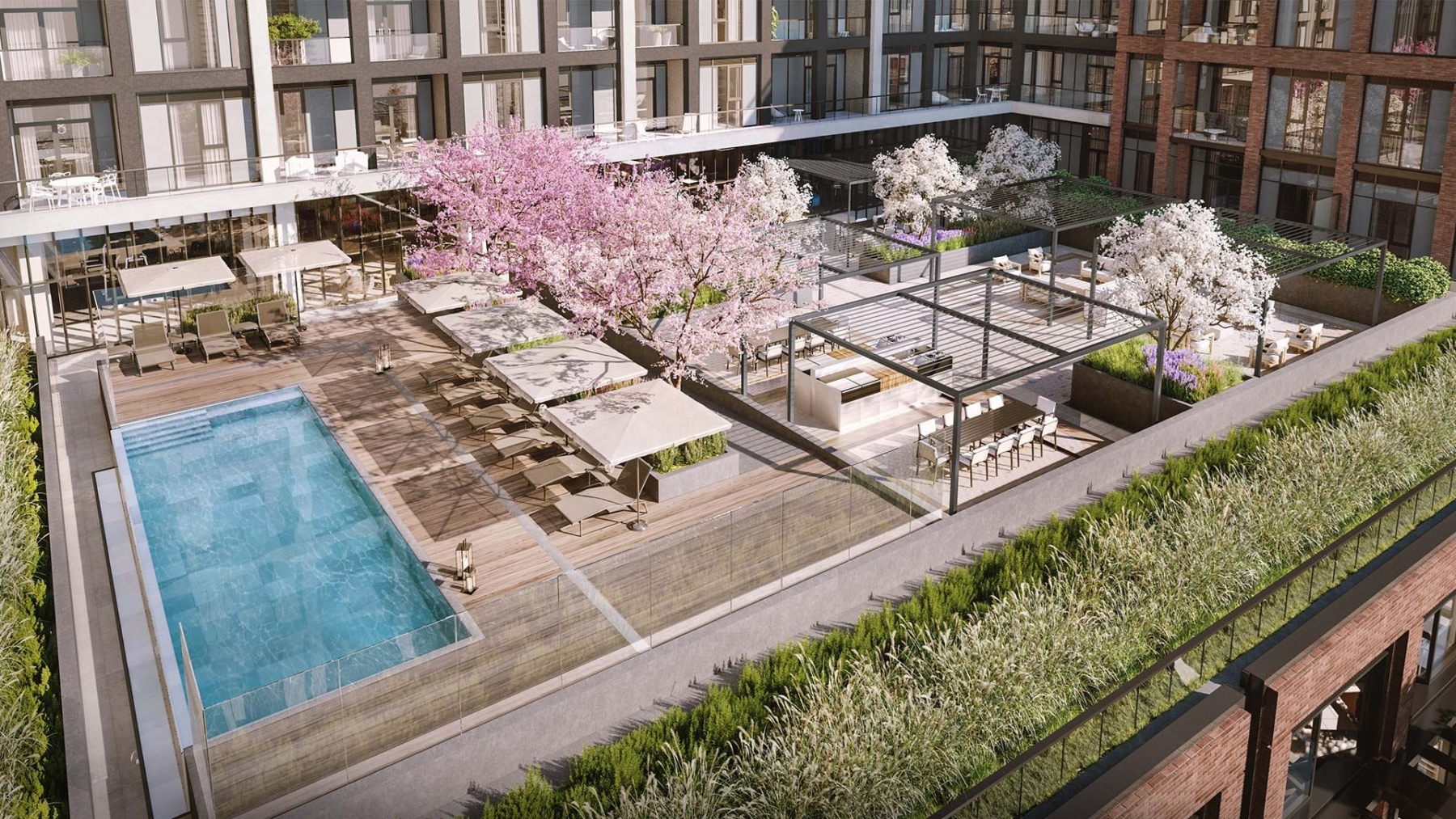 The Dupont Condos terrace with blossom trees
