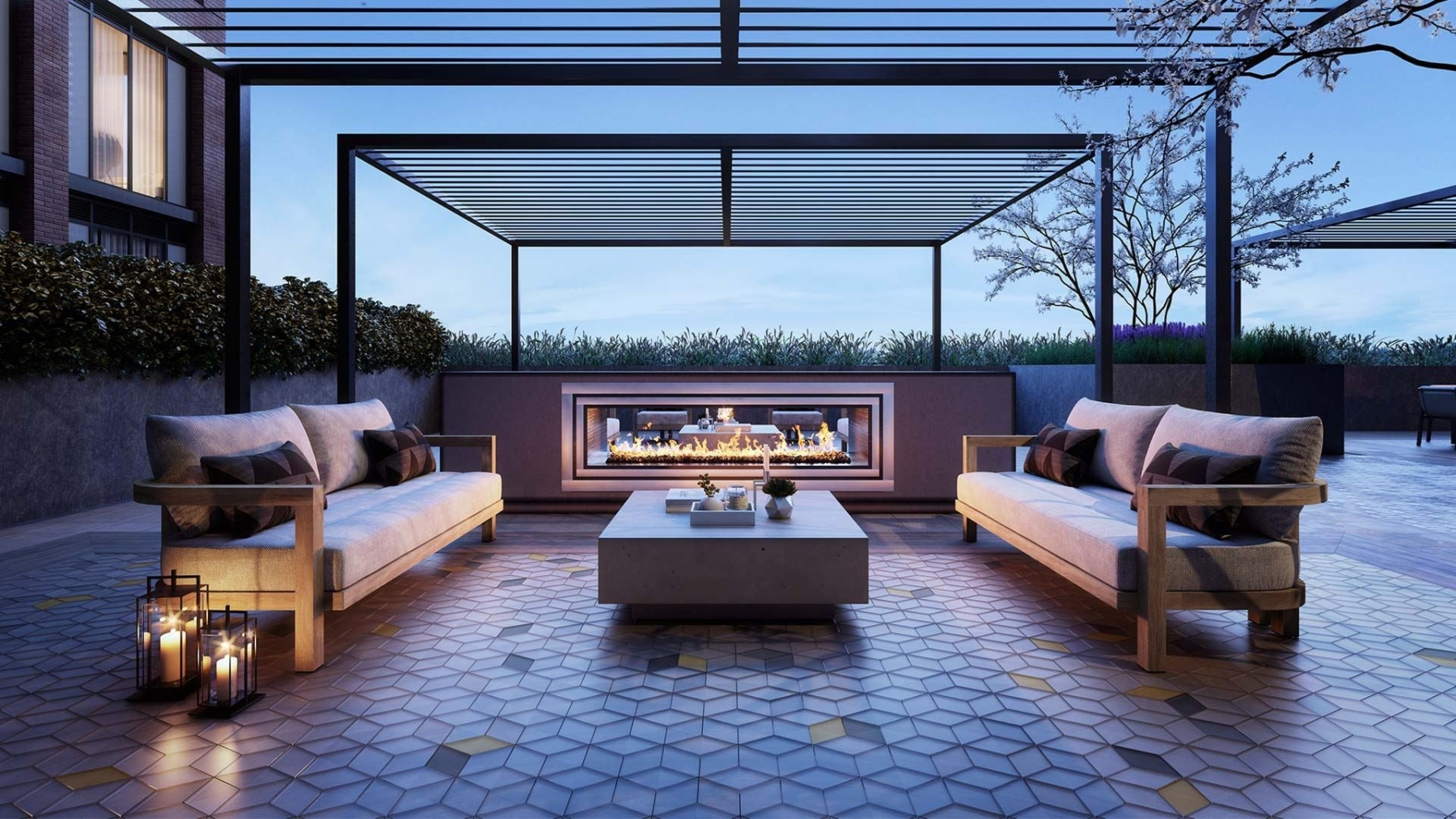 The Dupont Condos terrace with seating and fireplace