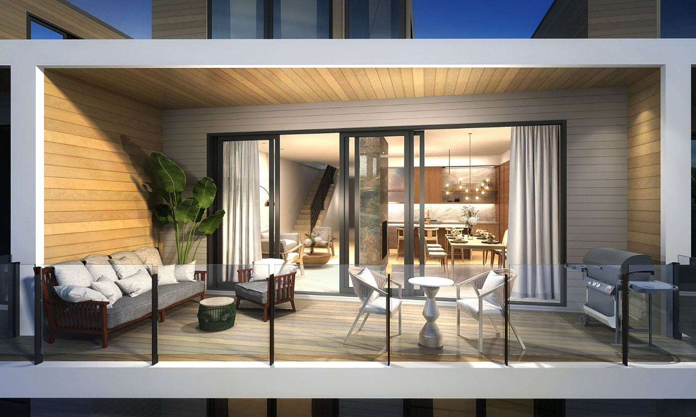 Rendering of Fenelon Lakes Club terrace and suite interior