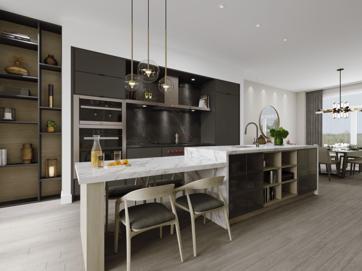 Rendering of Lookout On The Knoll Towns The Reserve Collection interior kitchen angled-view