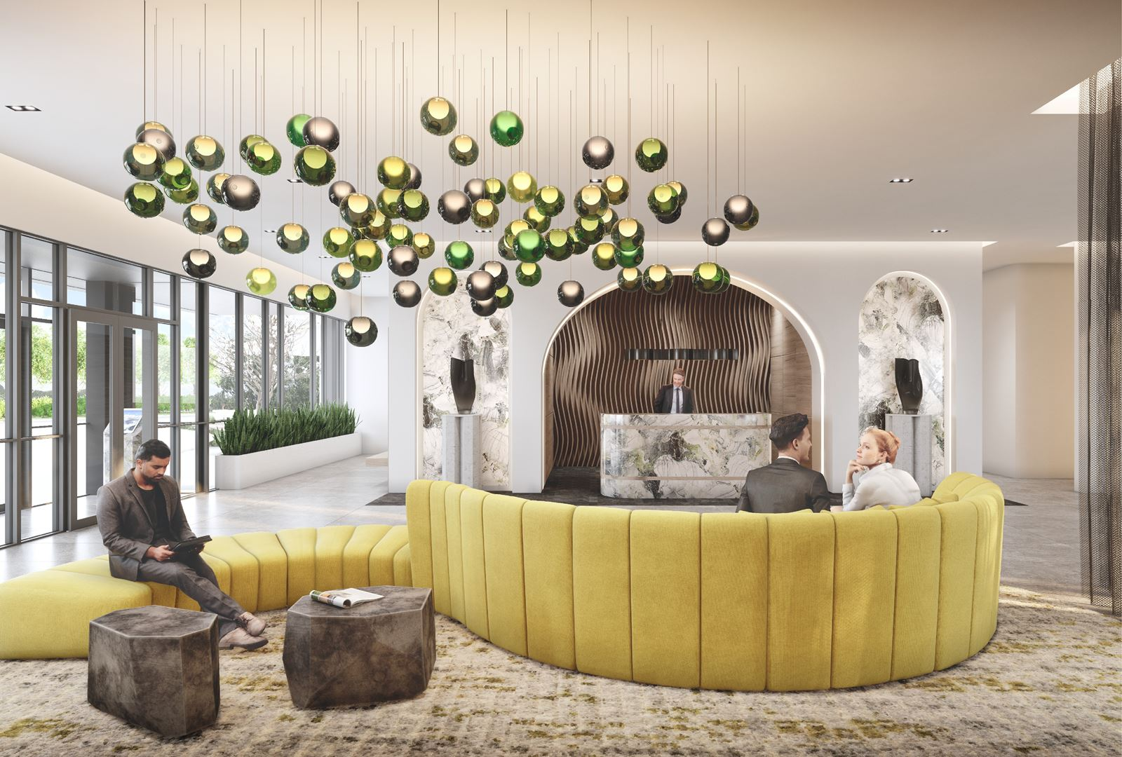 Rendering of Stella at Southside Condos lobby lounge