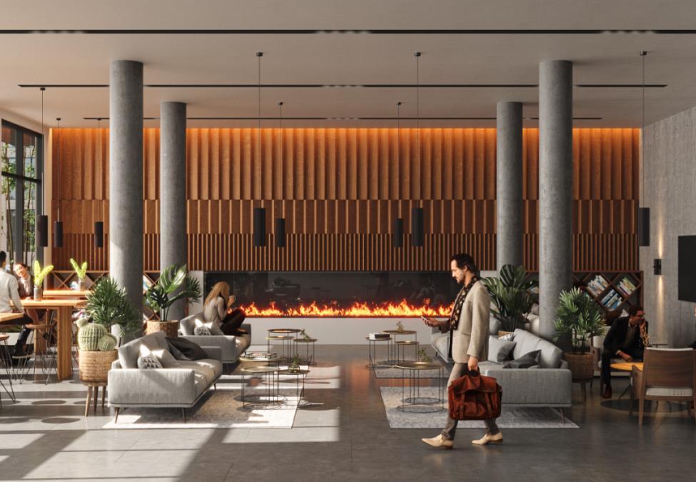 Lobby lounge rendering of Twin Regency Condos