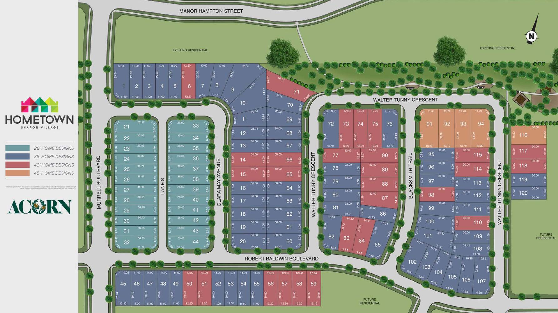 Site plan of Hometown Sharon Village by Acorn Developments