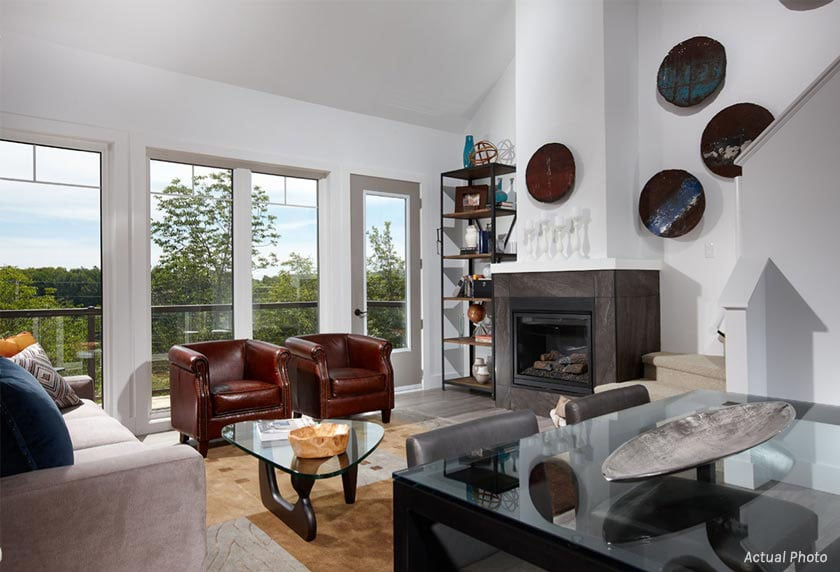 Treetops Condos living room with fireplace