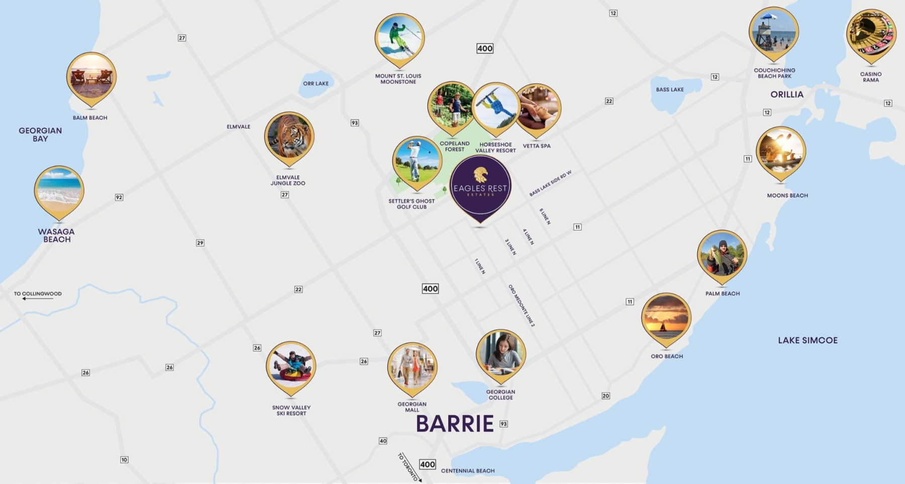 Map of Eagles' Rest Estates in Oro-Medonte, Barrie, Ontario