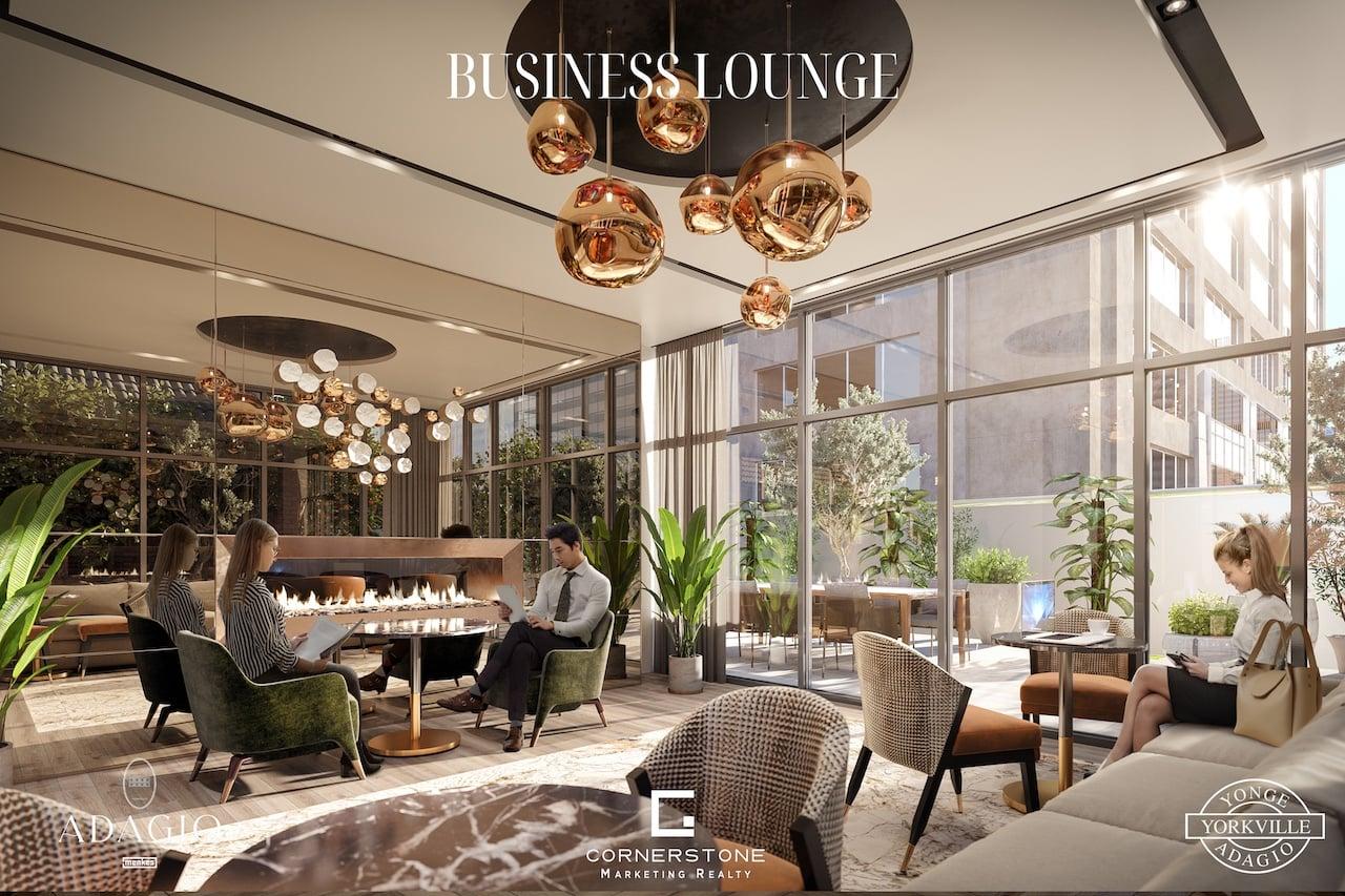 Rendering of Adagio Condos business lounge