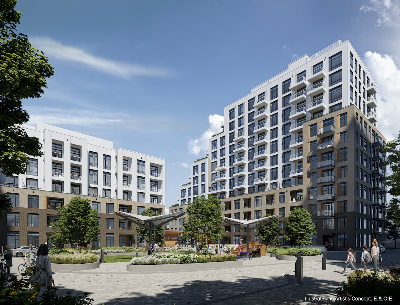 Rendering of Boulevard at the Thornhill exterior with courtyard