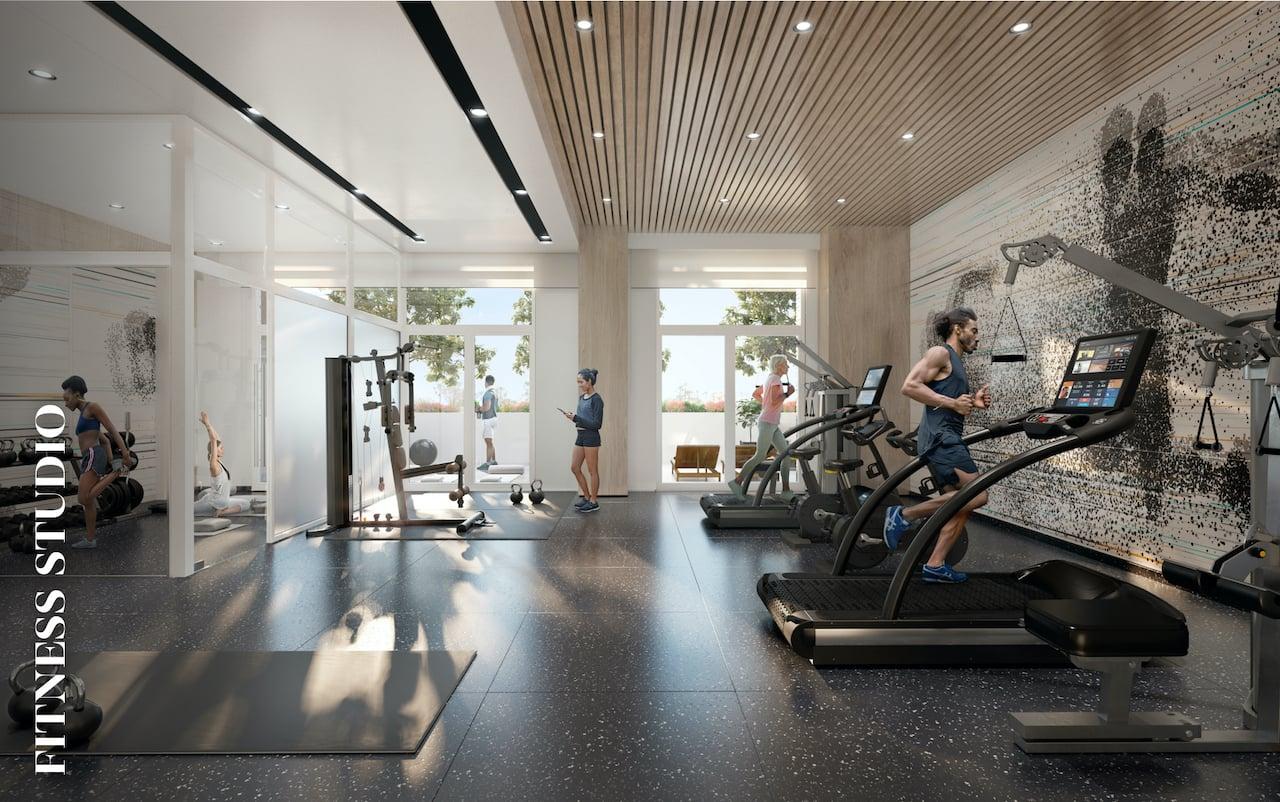 Rendering of Danny Danforth interior fitness studio