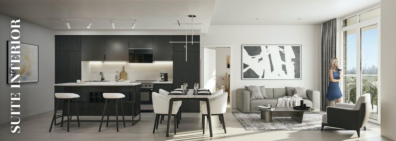 Rendering of Danny Danforth interior suite open-concept living