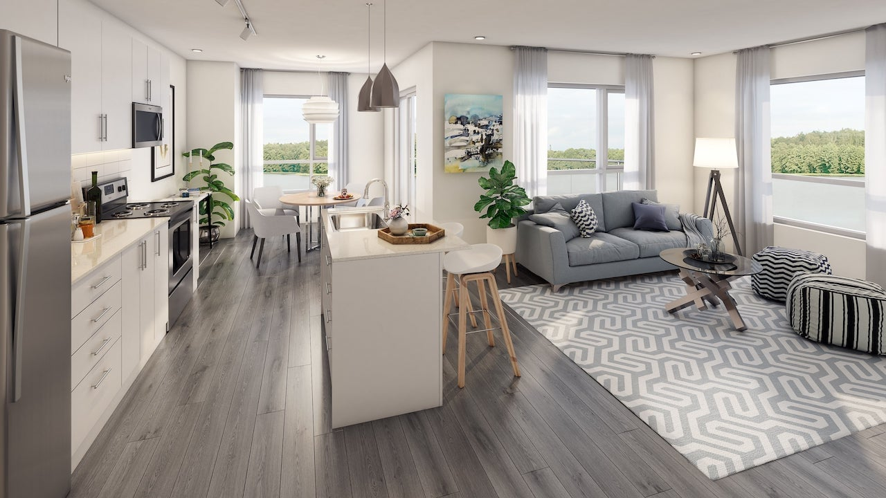 Rendering of LakeVu Two suite interior 2-bedorom
