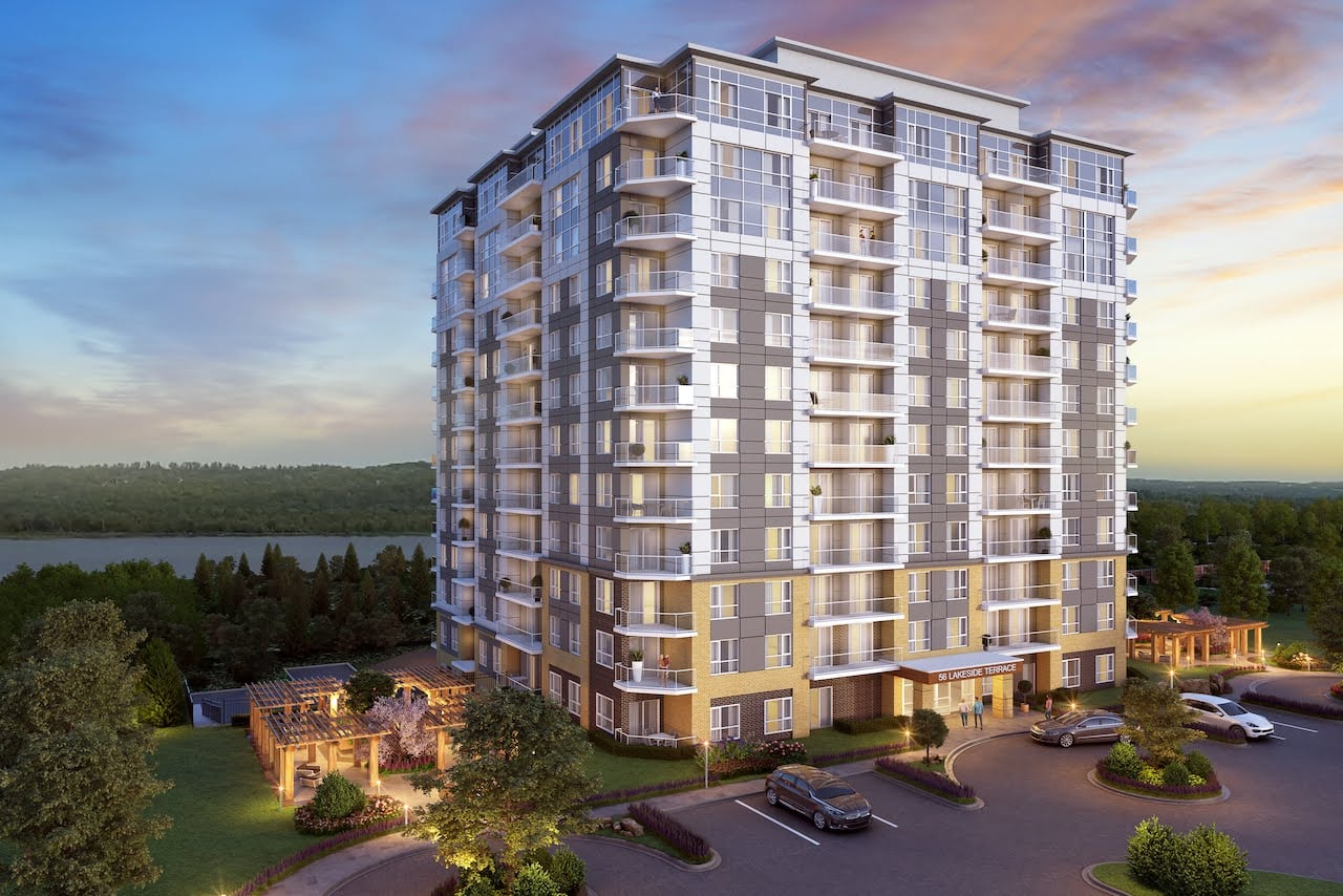 Rendering of LakeVu Two exterior evening