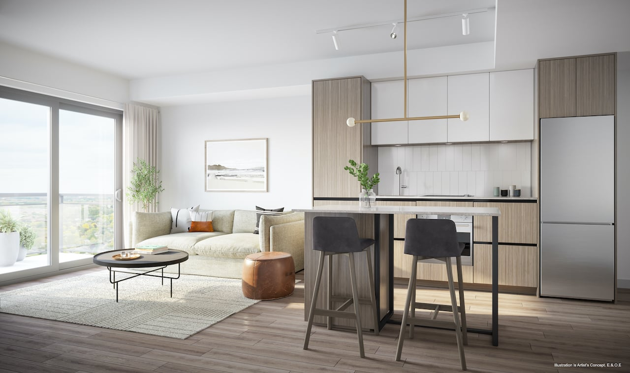 Rendering of Boulevard at the Thornhill suite kitchen and living area
