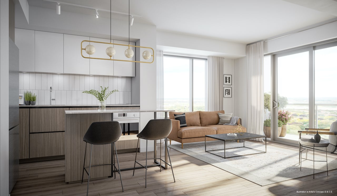 Rendering of Boulevard at the Thornhill interior open-concept kitchen