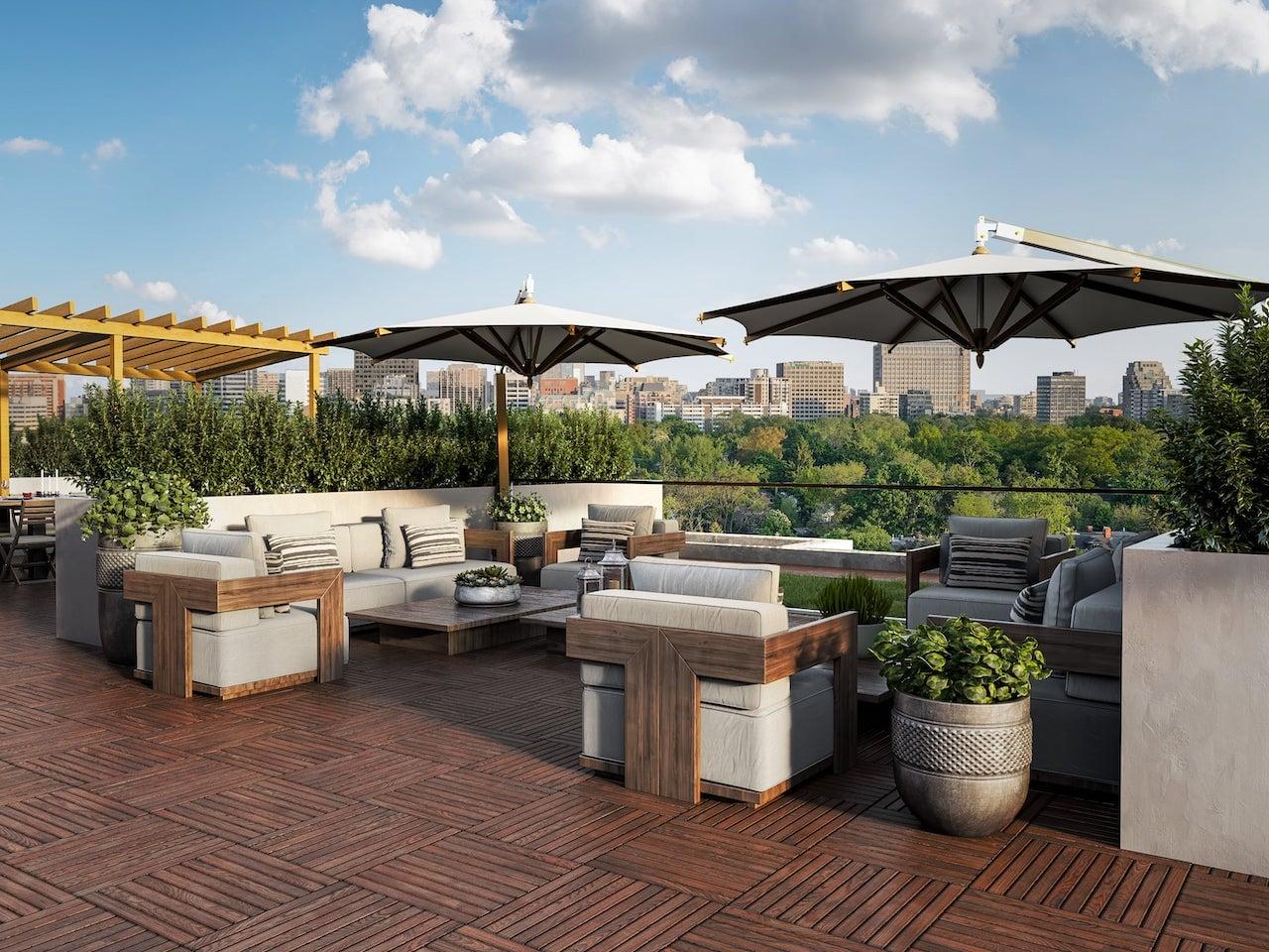Rendering of Nahid on Broadview rooftop terrace