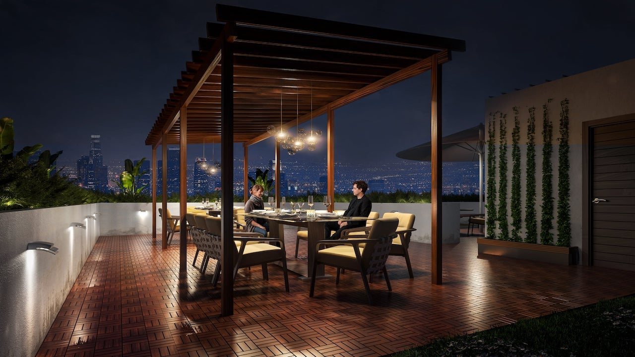 Rendering of Nahid on Broadview rooftop terrace at night