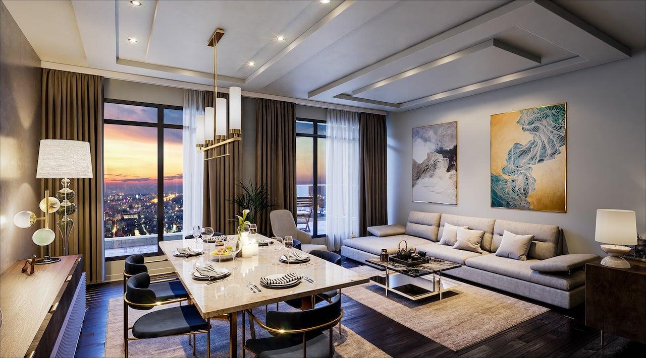 Rendering of Nahid on Broadview suite interior living room