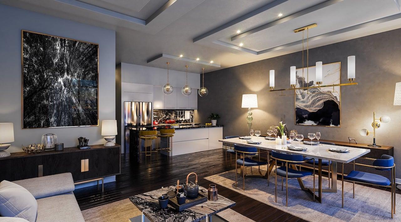 Rendering of Nahid on Broadview suite interior living room open concept