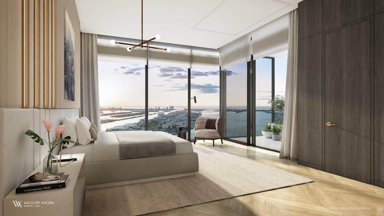 Rendering of Waldorf Astoria suite primary room