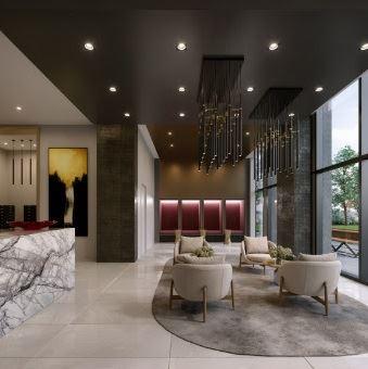 Rendering of LeftBank Condos lobby with lounge