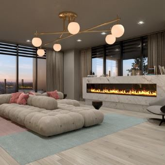 Rendering of LeftBank Condos party room with fireplace
