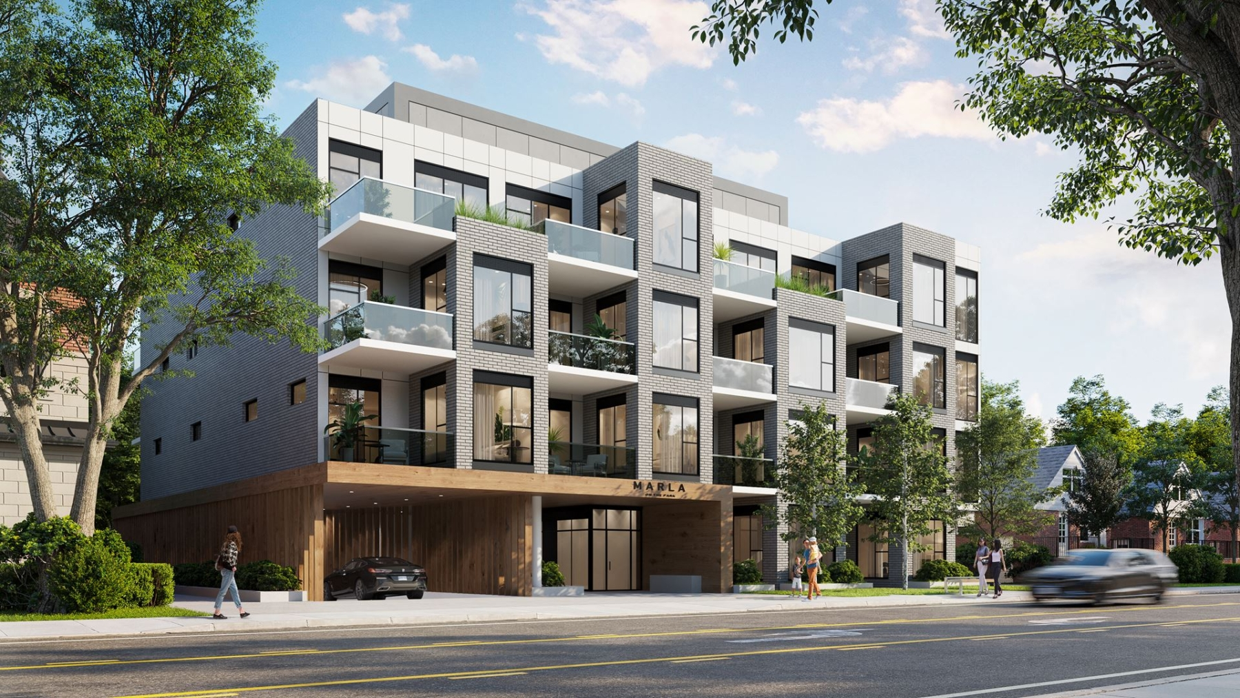 Side-view exterior rendering of Marla On The Park Condos in Toronto