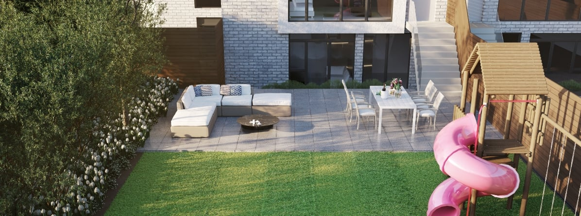 Aerial Exterior rendering of Residences on Keewatin Park Towns suite backyard