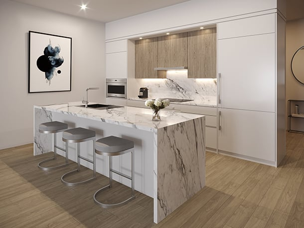 Rendering of Residences on Keewatin Park suite interior kitchen