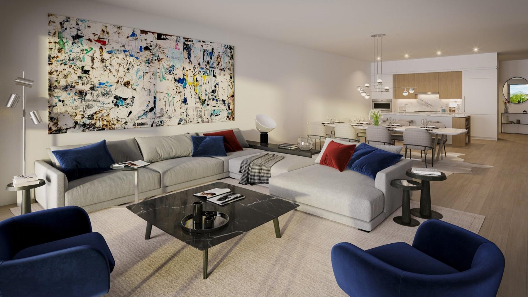 Rendering of Residences on Keewatin Park suite living room