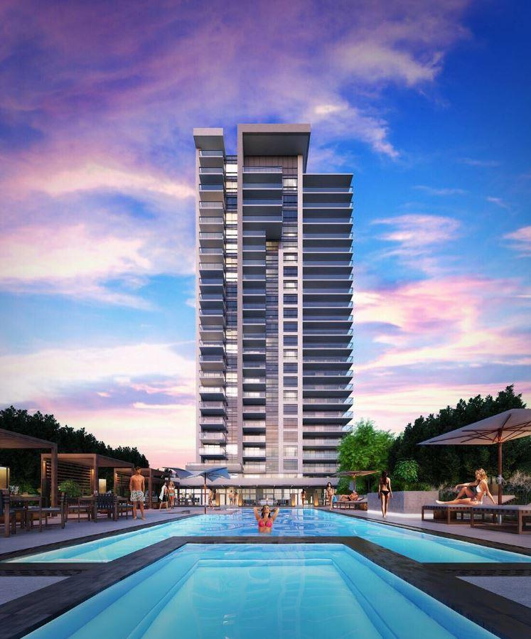 Rendering of SF3 Condos and Towns exterior with pool