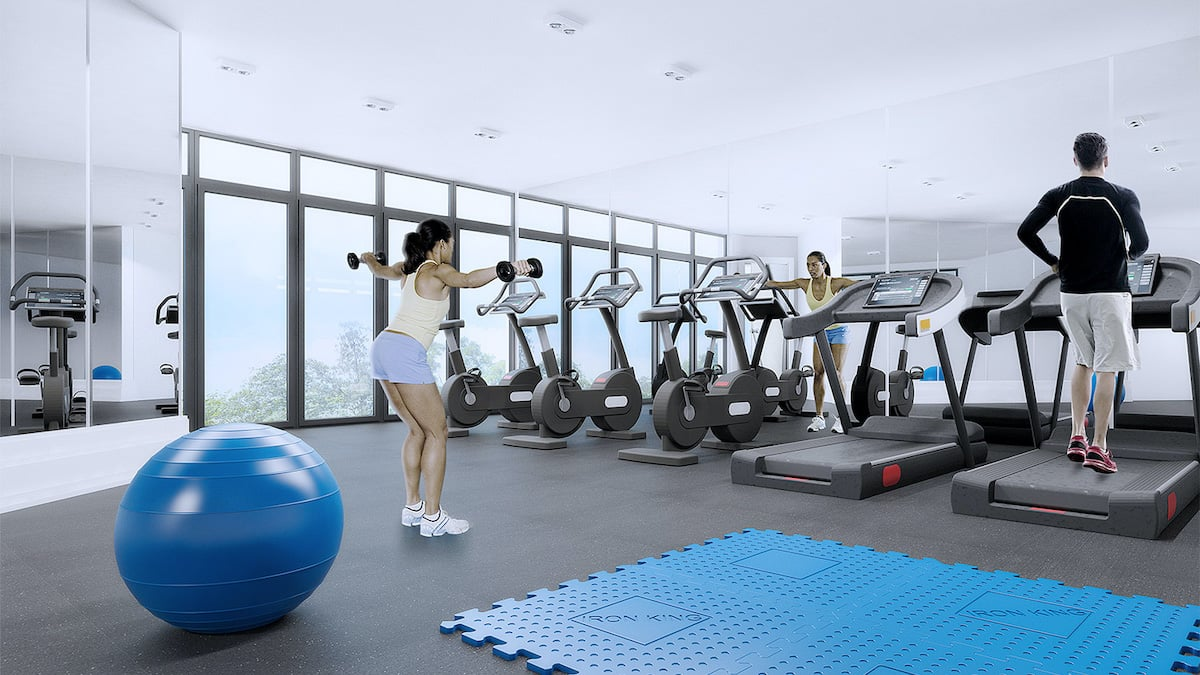 Rendering of SweetLife Condos and Towns fitness centre with yoga