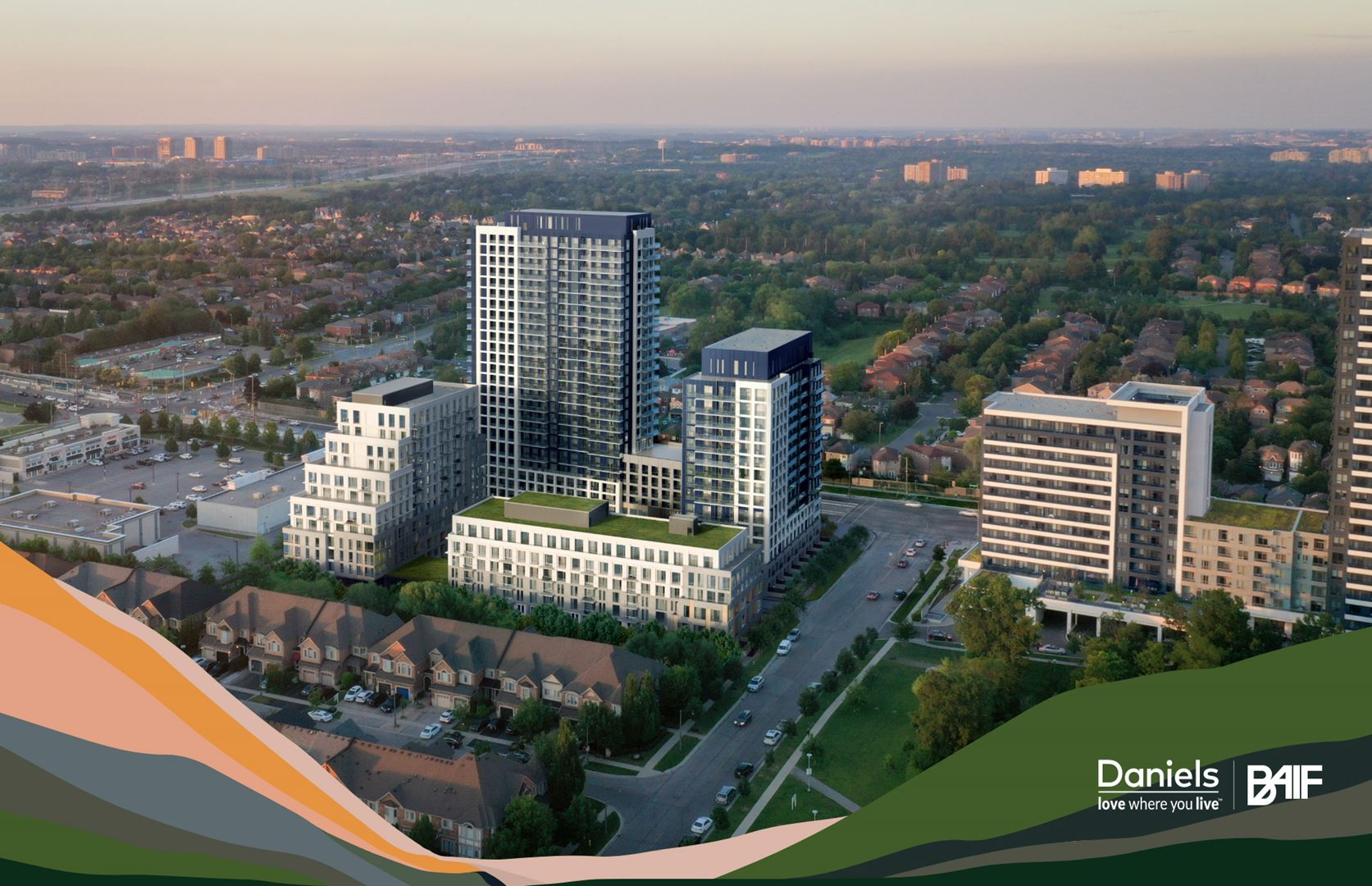 Aerial rendering of Boulevard at the Thornhill Condos