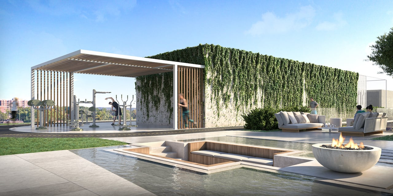 Rendering of 79825 Condos Exterior fitness and water feature