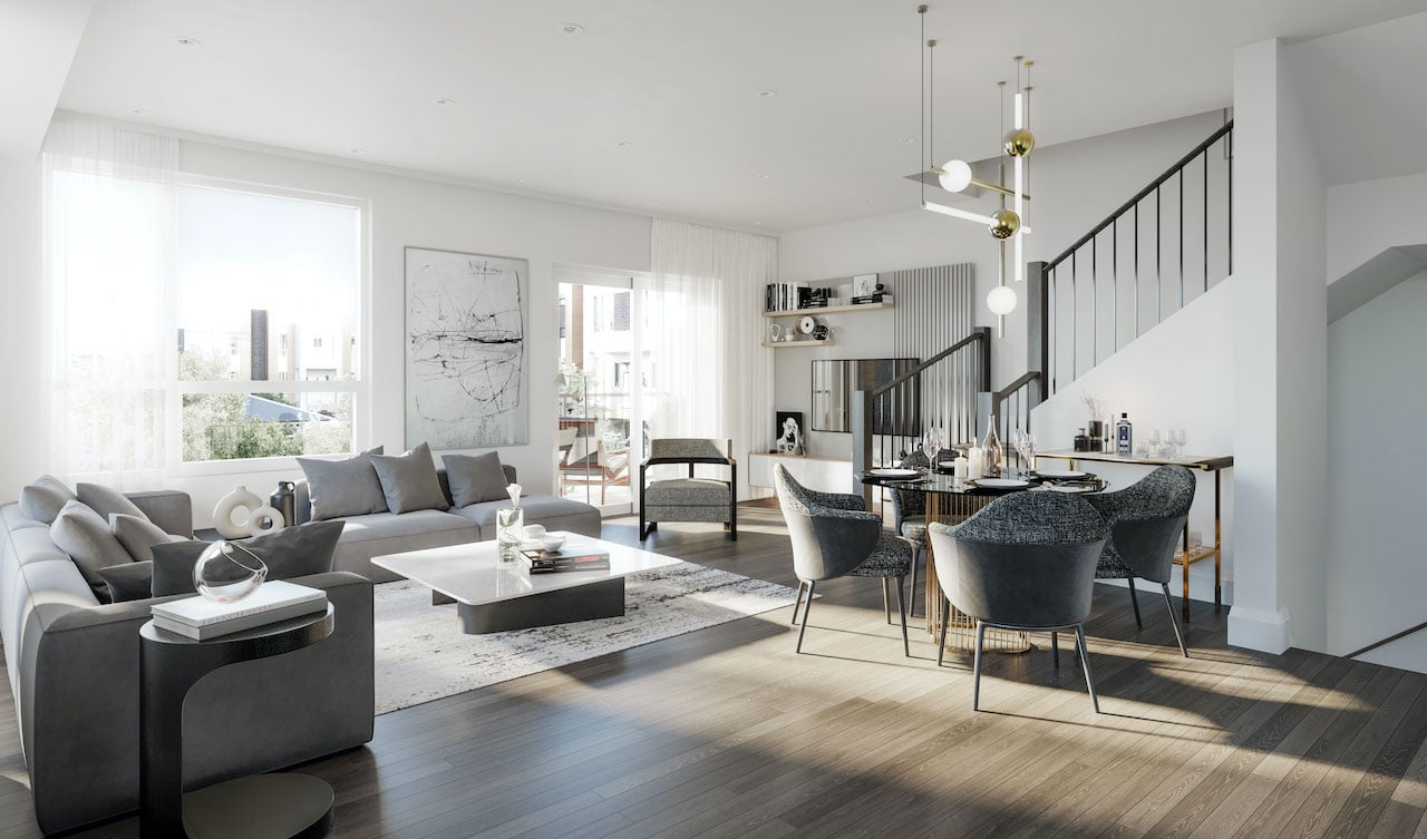 Rendering of Glenway Urban Towns suite interior main living area