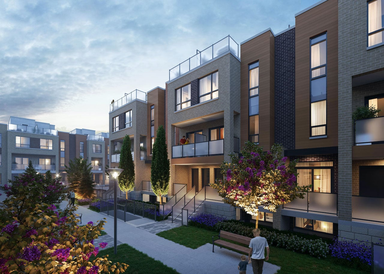 Rendering of Glenway Urban Towns exterior in the evening