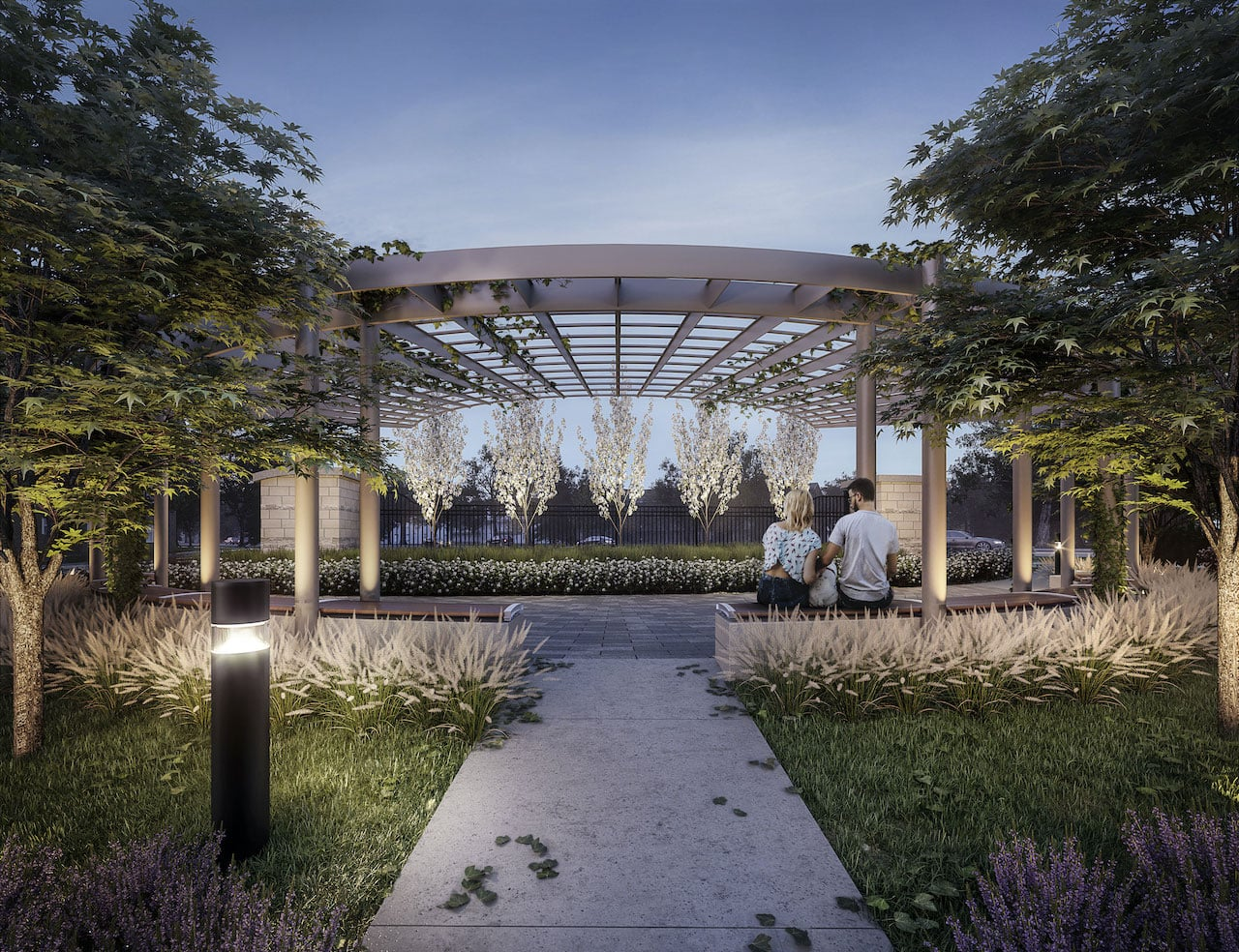 Rendering of Glenway Urban Towns courtyard in the evening