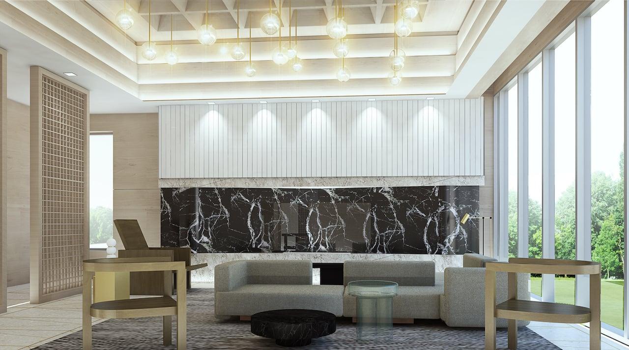 Crest Condos interior lobby lounge