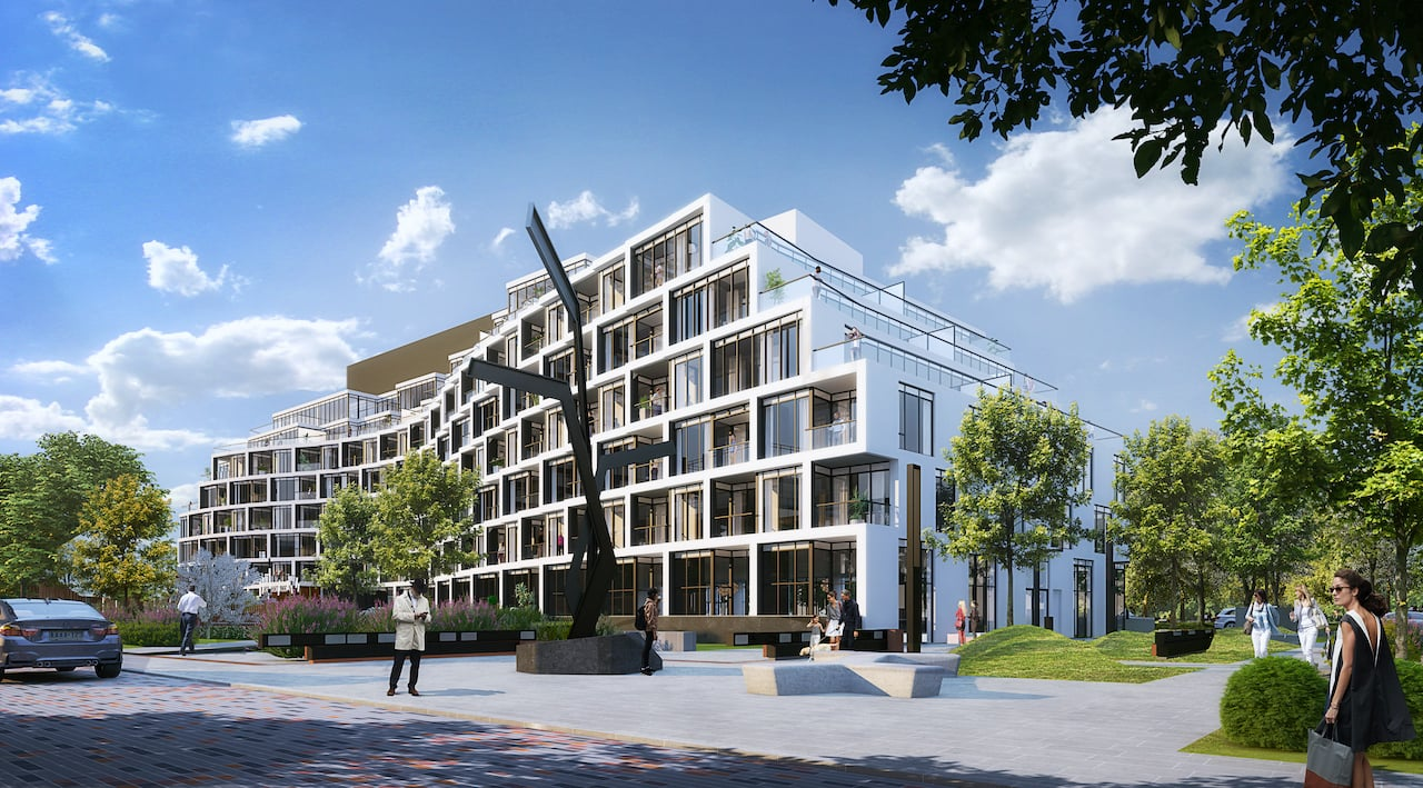 Exterior rendering of Crest At Crosstown Community with street view